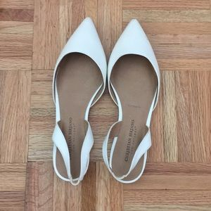 Christian Siriano white sling backs